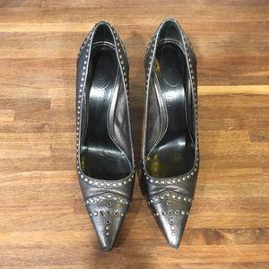 Prada gun metal heels with metal hardware